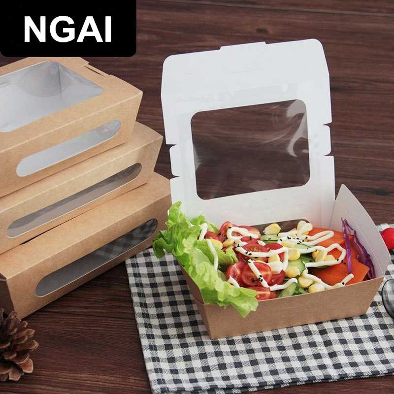 Food Grade Salad Box Disposable Fruit Box Waterproof And Anti-Oil Kraft Paper Box Packing Tools French Fries Fried Food Trays
