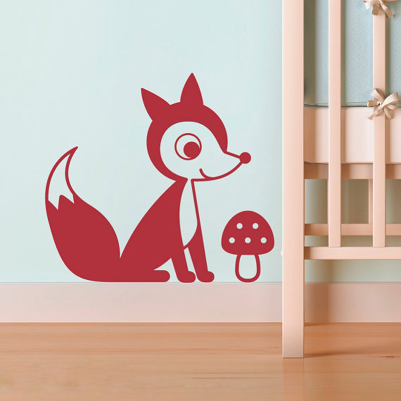 Vinyl Fox Decal For Baby Nursery Wall Decor , free shipping Fox with Mushroom Stickers , white brown color.....P2049