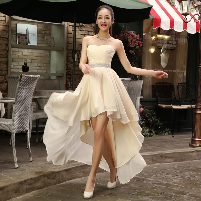 9ce093d347a 2017 New Fashion Beige Champagne Red Purple Blue Chiffon Tube Top Low-High  Lace up Bridesmaid Maid of Honor Bridal Party Dress