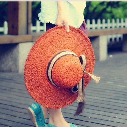 Mujeres sunbonnet del verano sombrero de paja de ala grande strawhat plegable sombrero grande