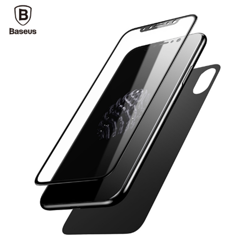 Baseus Premium Front Back Screen Protector For iPhone X Film 3D Full Body Cover Rear Toughened Tempered Glass For iPhone X 10