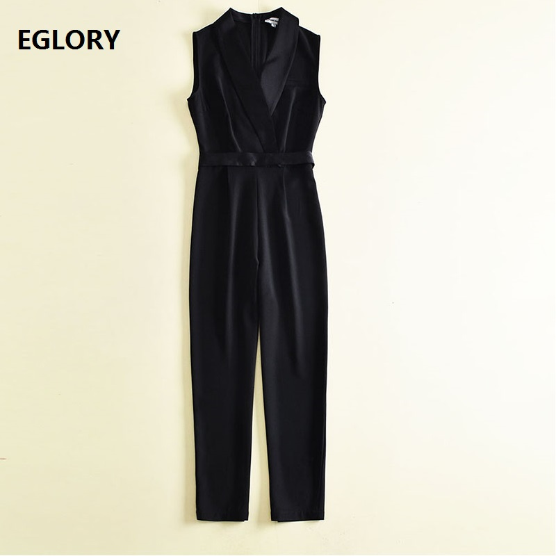 Top Quality New Style Celebrity Woman Jumpsuit 2018 Summer Office Lady Notched Collar Sleeveless Skinny Pants Overall Jumpsuits