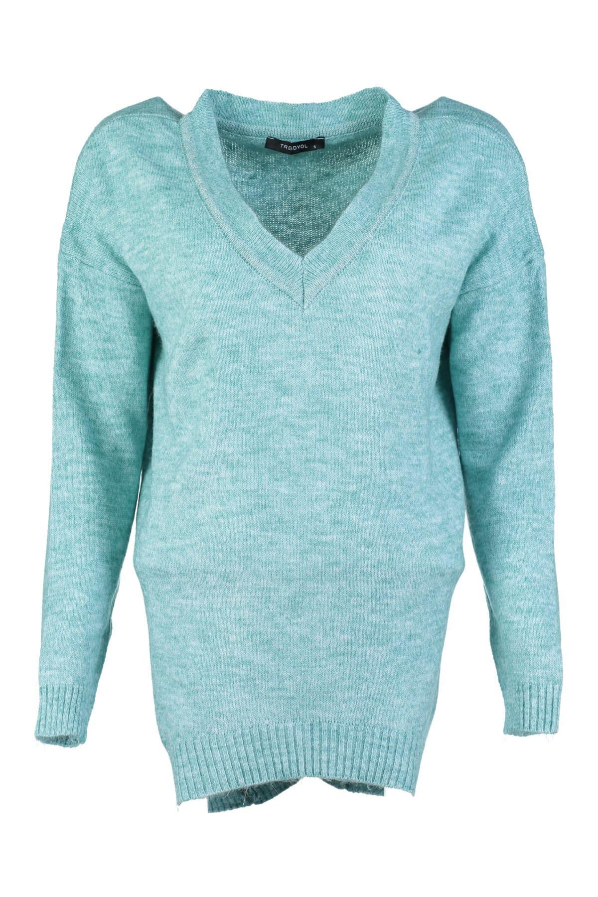 Trendyol WOMEN-Mint Silvery V-Neck Knitwear Sweater TWOAW20ZA0013