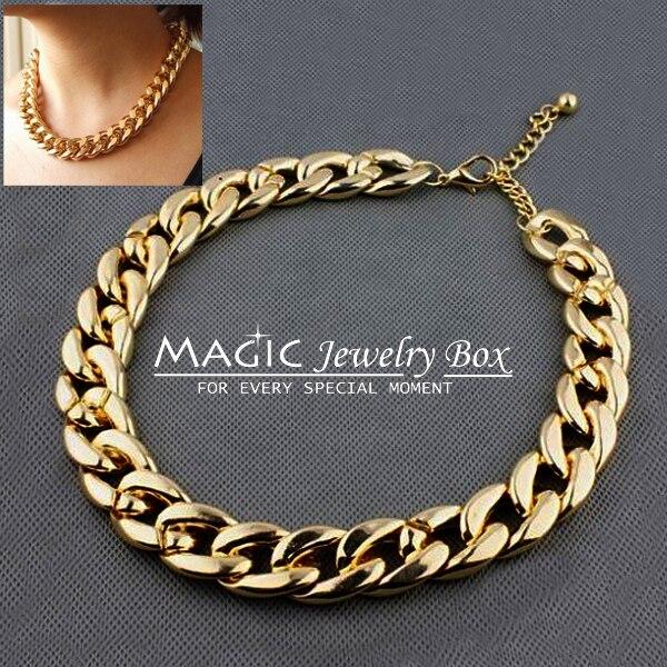 Fashion Brand Colares Femininos Gold Plastic Pave Chain Choker