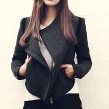 2016 New European Brand Women Jacket Black Jacket Woman Long Sleeve Big Turn-down Collar Zipper Women Outerwear Coat YC362