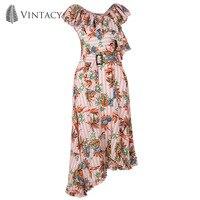 Vintacy Asymmetrical Ruffle Dress Women Summer Sleeveless Stripe Pink Plus Size Dress Belt A Line Floral
