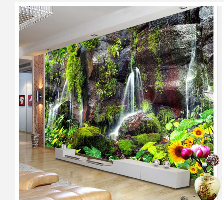 3d wall murals mountain green water falls tv background for 3d wallpaper for home decoration