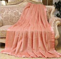 Doğa Sağlıklı % 100% dut ipek battaniye kral Kraliçe pembe turuncu sarı renkler toptan