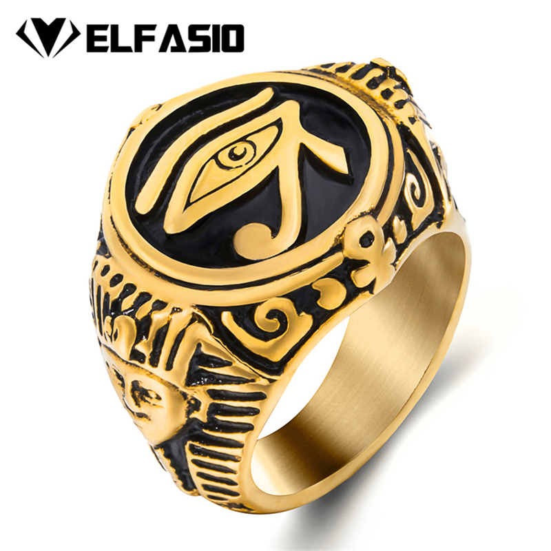 316L Stainless Steel//18K Gold//Black Amulet Jewelry Talisman Ring for Men//Women Valily Seal of The Seven Archangels Ring