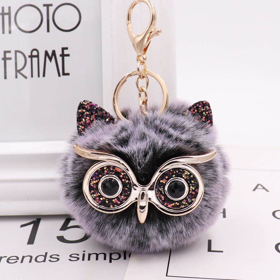 ZOEBER Pompom Keychain Trendy Animal Shape Owl Keychain Lovely Rabbit Fur Ball Car Keyring  Women Key Holder Bag Pendant Jewelry
