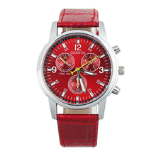 Trend Girls Males Watches Leather-based Band Analog Dial Quartz Wrist Watch Color:Pink
