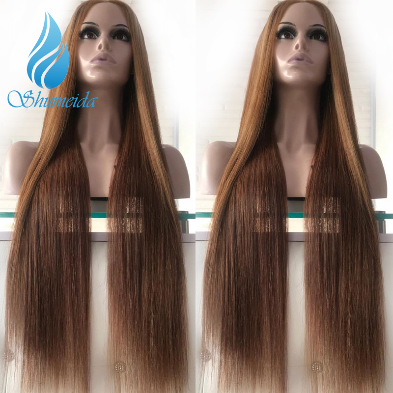 SHD Brazilian Remy Hair Lace Front Hair Wigs for Women Highlight Brown Color Wigs 100 Human