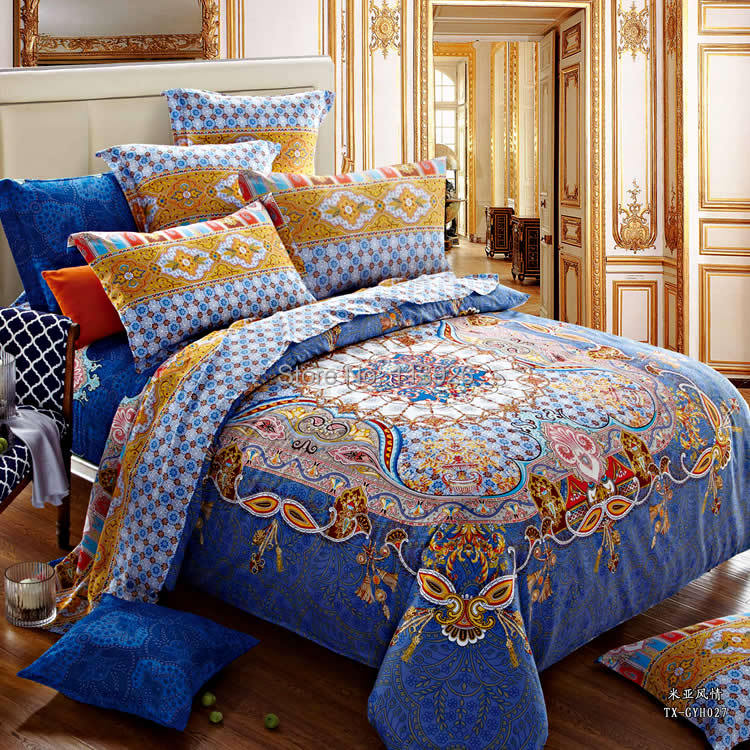 Flowers Printing 100% cotton bedding set 4pcs Full/Queen/King Bedding Set/ 100% cotton sets