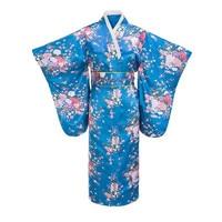 Fashion Lake blue Evening Dress Japanese Women Tradition Yukata Kimono With Obi Vintage Cosplay Costume One size