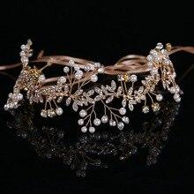 2017 New Arrival Ribbon Wired Rhinestones Crystals Pearls Flower Wedding Headband Bridal Hair Vine Hair Accessories Bridesmaids