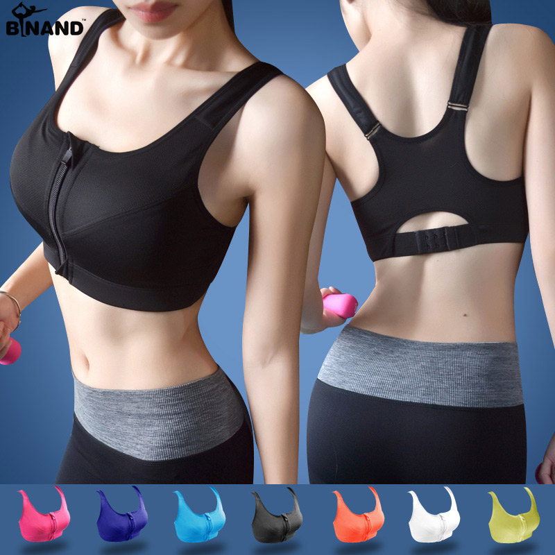 2018 Women High Impact Running Shockproof Sports Bra Padded Wirefree With Front Zipper Closure And Adjustable Strap Fitness Tops