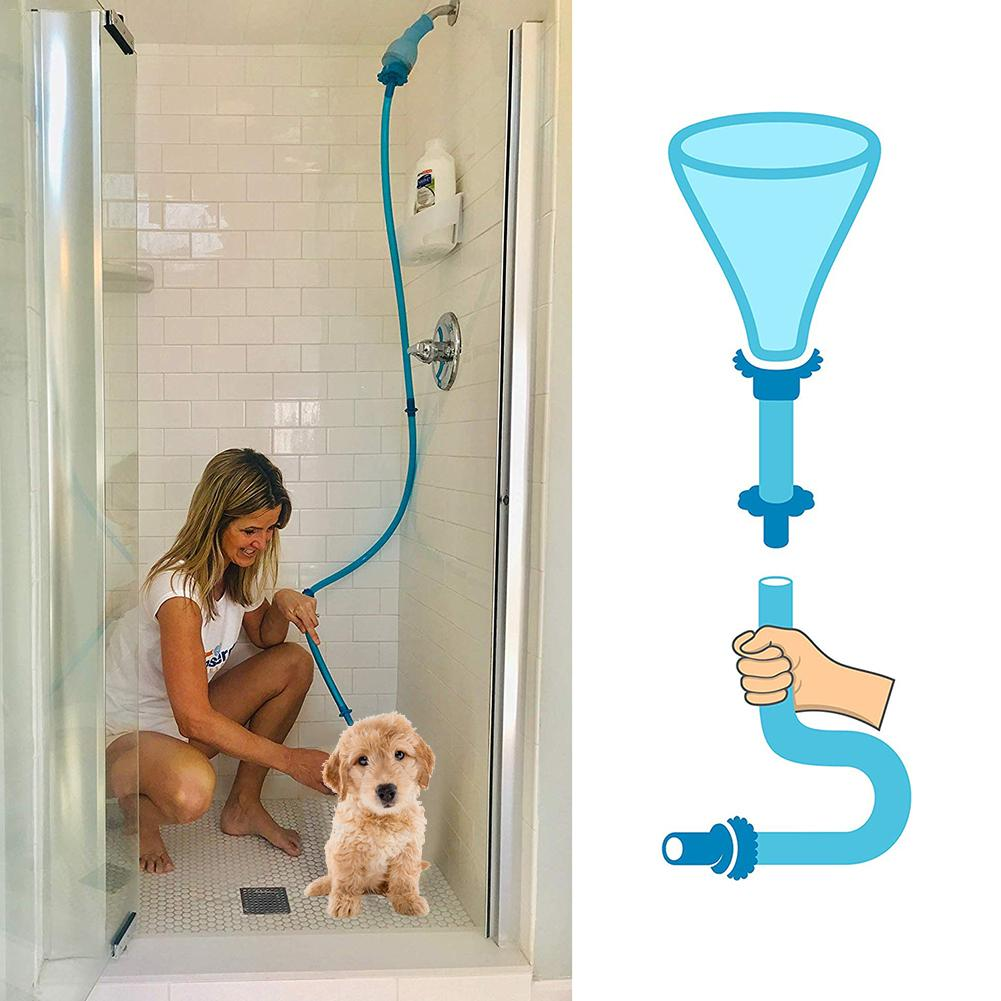 PET RINSER Universal Connector Dog Wash Hose Attachment Silicone Pet Shower Sprinkler Hose Handheld Rinser For Dogs Cats Fits