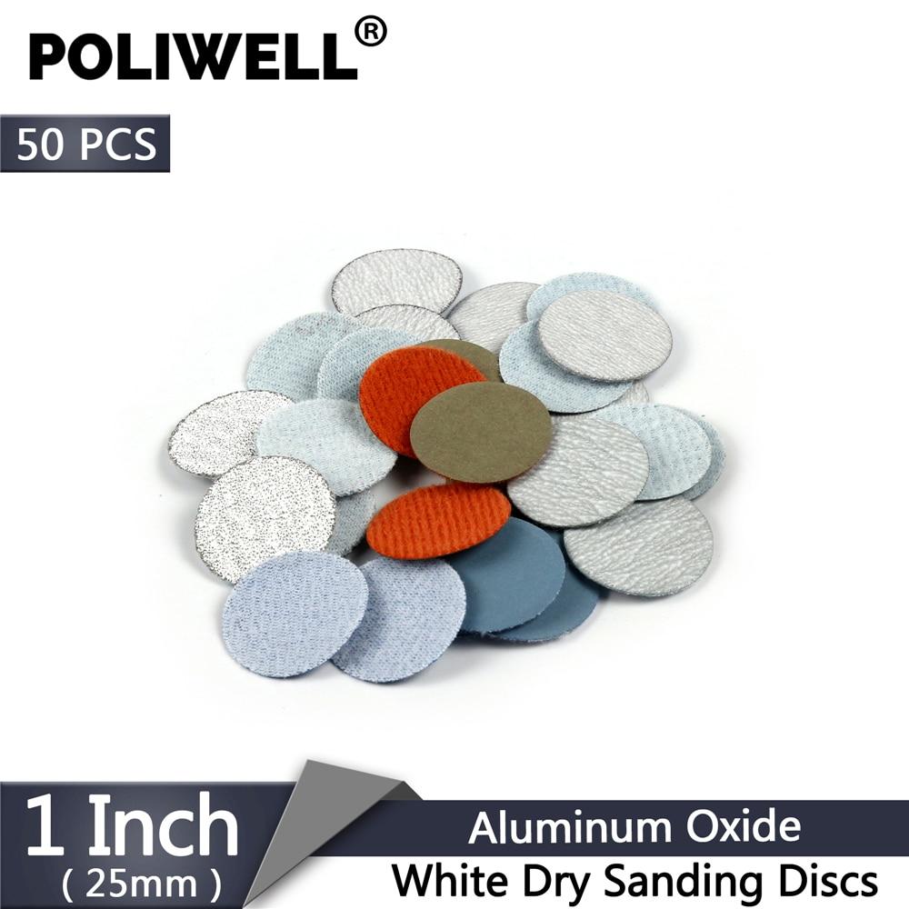 POLIWELL 50PCS 1 Inch 25mm Sandpaper 60/600/2000/3000/10000 Grit White Dry Sanding Discs Aluminum Oxide Flocking Polishing Paper