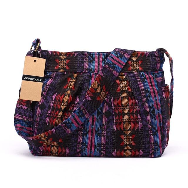 Women Crossbody Bag Vintage Large Capacity Shoulder Bag Multi-pocket Cotton Messenger Bag Hobo for Ladies 3
