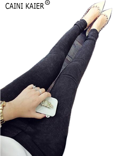 Fall 2016 fashion elastic fat MM denim trousers all-match elastic waist Leggings 959 feet of snow