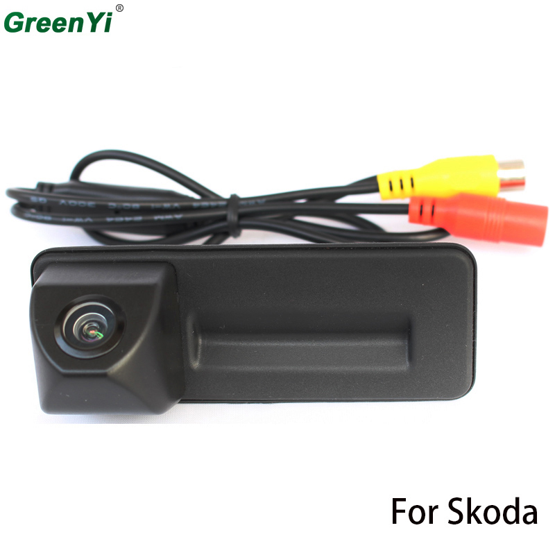 HD CCd Car Trunk Handle Reverse Parking Rear View Camera For Skoda Roomster Fabia Octavia Yeti Superb For Audi A1 bigbigroad car trunk handle rear view backup reverse camera for skoda roomster fabia octavia 5e mk2 yeti superb audi a1