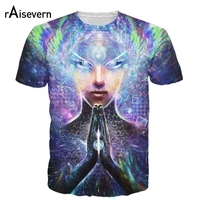 Raisevern New Multidimensional Prayer T Shirt 3D Summer Style Fashion T Shirt Top Psychedelic Tee Casual