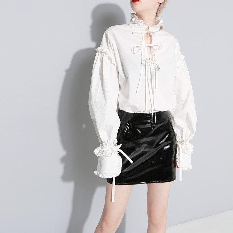 Vintage femmes à manches longues chemise blanc coton dentelle arc col montant lâche Blouse doux hauts C40 - 2