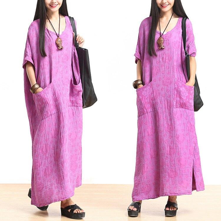 Новые летние Для женщин Вышивка лоскутное цельный платье v-образным вырезом свободные свободное платье плиссированные белье платья халат 523