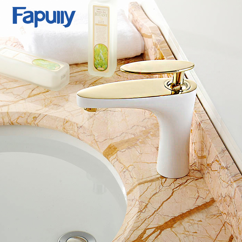Fapully Basin Faucet Tap Deck Mounted Chrome Gold Finish Luxury Single Handle Bathroom Mixer Tap brand new deck mounted chrome single handle bathroom