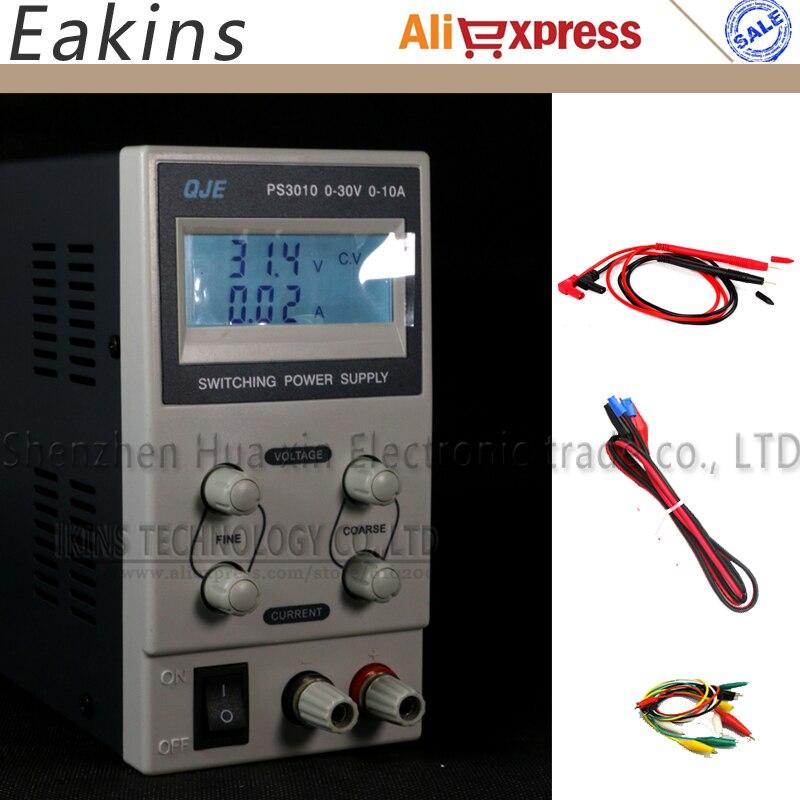 ФОТО QJE PS3010 Backlight LCD display Mini Adjustable DC power supply Switching Power supply OVP/OCP/OTP 0-30V 0-10V 220V EU Plug