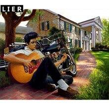 LIER  Mosaic Diamond DIY Elvis Presley Play Guitar Painting Diamond Embroidery Full Canvas Painting 5D Diamond Painting H060