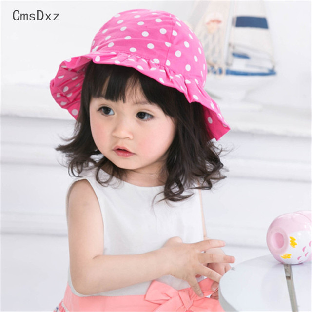 CmsDxz Girls Hat 2018 Spring Baby Girls Hats Fashion Wave Point Girl Sun Hat  Beautiful Children 5a0c38ca5d0