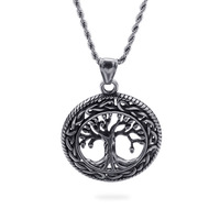 Stainless Steel Tree of Life Pendant Necklace D266 Necklace 24inch