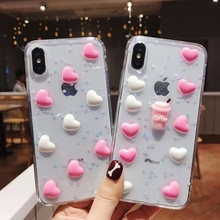 3D Cute Love Heart Ice Cream Pattern Phone Case For iphone X XS Max XR 6 6s 7 8 Plus Bling Glitter Soft Back Cover Coque