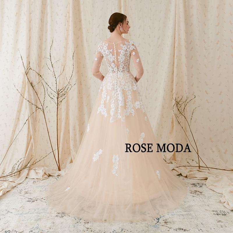 Rose Moda Fransk Blond Wedding Dress 2018 med långa SLeeves - Bröllopsklänningar - Foto 3