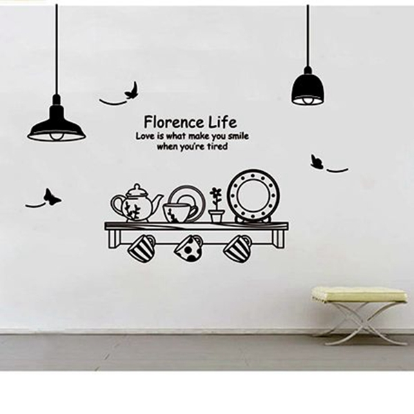 Wall Designs Art Kitchen Utensils Erfly Letter Removable Stickers Mural Diy Wallpaper For Room