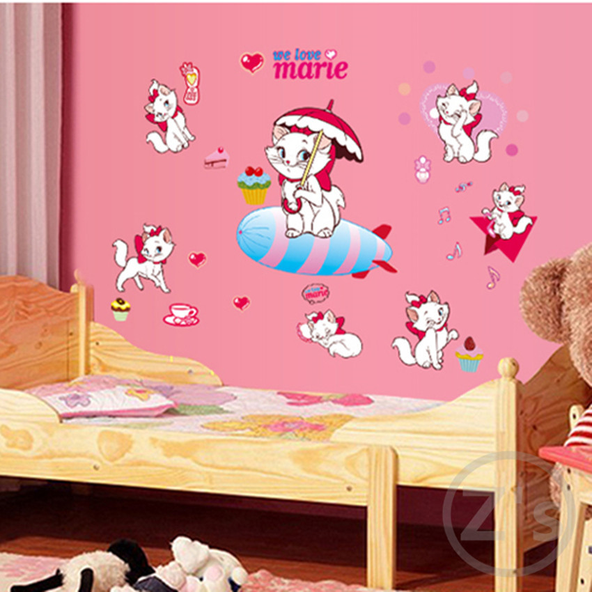 White cats wall sticker for kids room home decor nursery for Mural room white house
