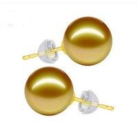 12 мм Природный Золотой Южное море Pearl с золотой серьгу