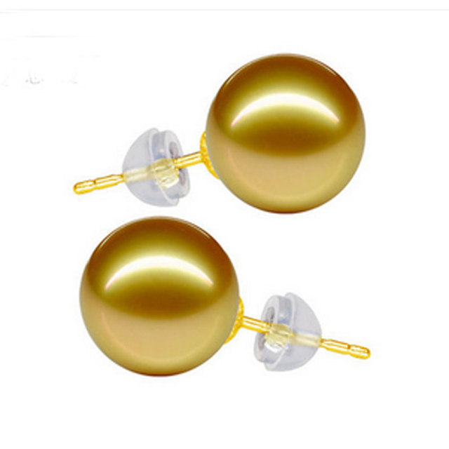 12mm Natural Golden South Sea Pearl with Gold Stud Earring