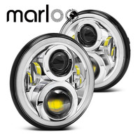 Marloo 7 Inch Round Daymaker Projector Chrome H4 LED Headlight For Jeep Wrangler JK TJ LJ