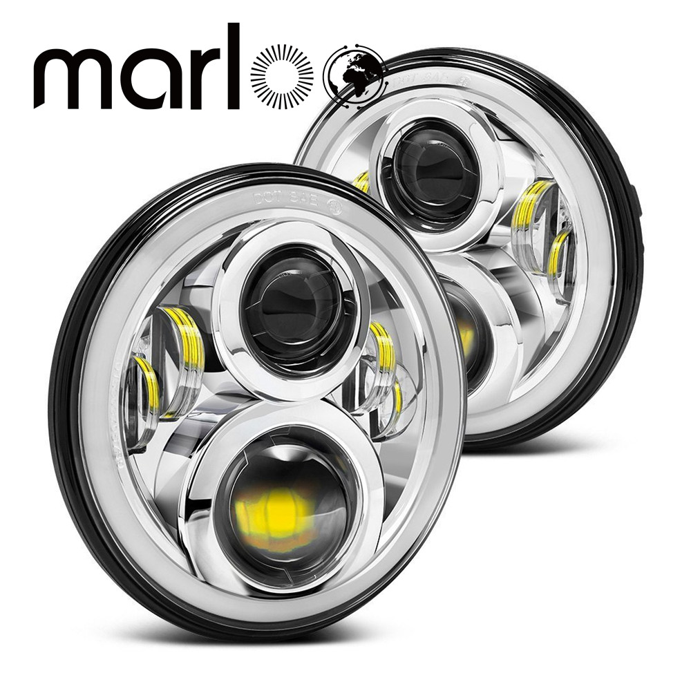 Marloo 7 Inch Round Daymaker Projector Chrome H4 LED Headlight For Jeep Wrangler JK TJ LJ 7 Halo Angel Eye Turn Signal Lights windshield pillar mount grab handles for jeep wrangler jk and jku unlimited solid mount grab textured steel bar front fits jeep