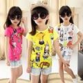 2017 summer girls clothes girls O neck short sleeve t-shirt cartoon kitten basic shirts Kids casual top tees 4-14Y