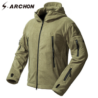 S.ARCHON Winter Windproof Tactical Jackets Men Fleece Warm Thicken Windbreaker Military Jacket Coat Hooded Thermal Army Clothes