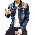 M-5XL 4 Estilos outono inverno moda jaqueta jeans calças de brim dos homens magro fit mens jaquetas e casacos casuais homens jaqueta bomber nasa BA03