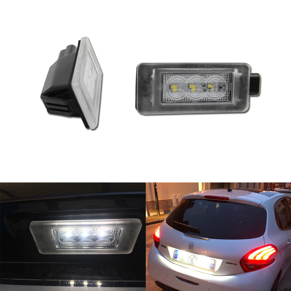 Canbus No Error <font><b>LED</b></font> License Number Plate Light For <font><b>Peugeot</b></font> 207 308 2008 <font><b>208</b></font> image