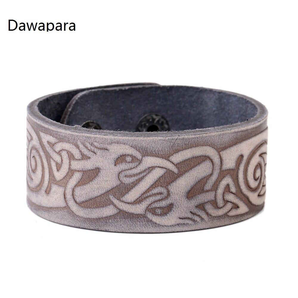 Dawapara Pheasant Genuine Leather Bracelets Alloy Buckle Adjustable Clasp  Cuff Bracelets Drop Shipping(china (