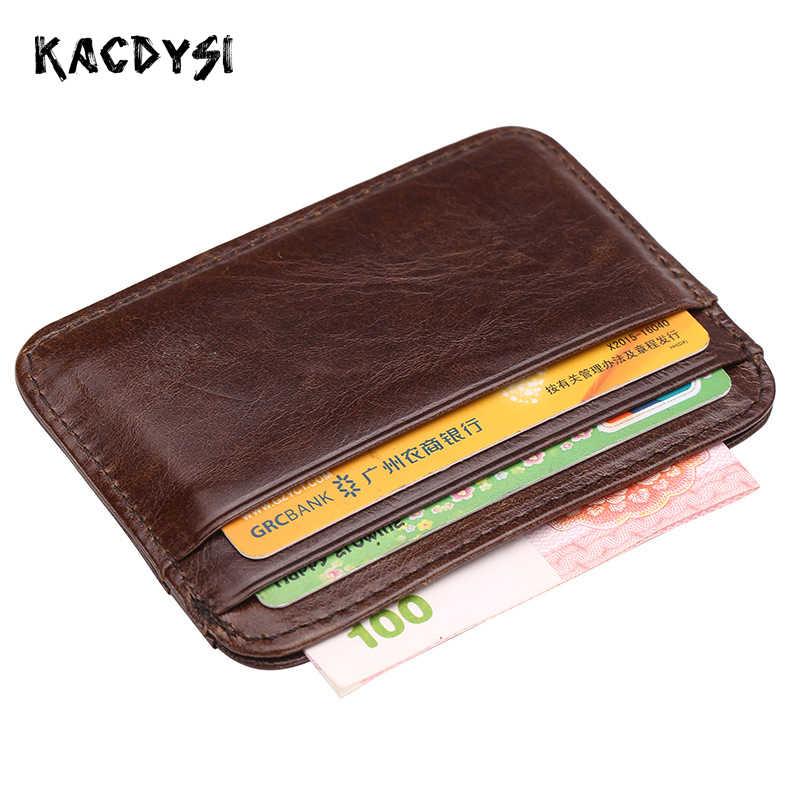 4db829ec223d Kacdysi Для мужчин Подлинная натуральной кожи кошелек Винтаж тонкий монет  сумка ретро ID кредитных держатель для