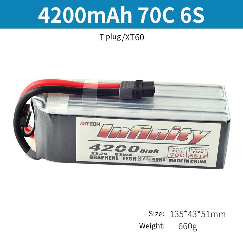 Infinity 6 S LiPo Batterij 70C 3200 mAh 4200 mAh 5200 mAh 22.2 V Met T of XT60 Plug Connector RC Lipo Batterij-in Onderdelen & accessoires van Speelgoed & Hobbies op  Groep 3