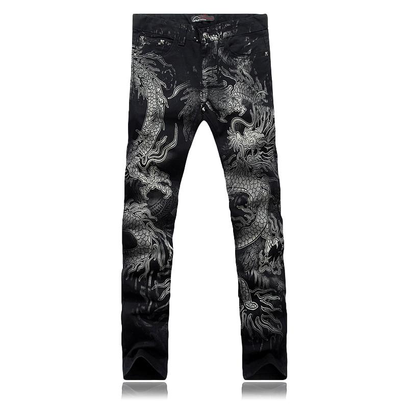 Plus size 28 36 wholesale high quality causal slim men print dragon jeans pants male singers