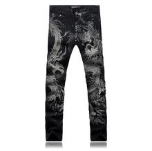 Большой размер 28 — 36 оптовая продажа высокое качество причинных тонкий мужчин печать дракон джинсы брюки певцы-мужчины брюки костюм мужская одежда для танцев